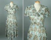 RESERVED 1950s dress • novelty print TREES summer dress with cape collar