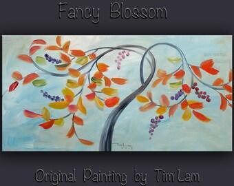 Abstract Tree, Contemporary Huge Decorative original Modern art decor Fancy Blossom by Tim Lam 48x24