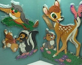 Vintage Dolly Toy Wall Pin-Up Disney Bambi Set NOS New in Package