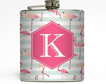 Custom Flask Personalized Pink Flamingo Monogram Custom 21st Birthday Women Bridesmaid Gifts Stainless Steel 6 oz Liquor Hip Flask LC-1614