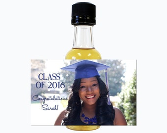 Custom Mini Bottle Graduation Party Favors College Grad Diploma Class of 2016 Personalized Liquor Labels and Empty 50 mL Bottles EB-1093