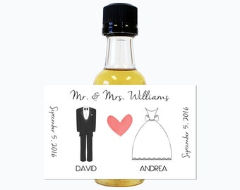 Custom Mini Bottle Liquor Favors Personalized Labels & Empty 50 mL Bottles Alcohol Wedding Favors Engagement Party Reception Gifts EB-1090