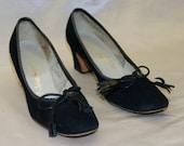 Vintage 1960's Mod Black Suede Tassel Shoes Heels by Jack Rogers - Size 7