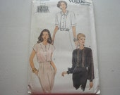 Pattern Vintage Ladies Blouse 3 Styles Sizes 8 to 12 Vogue 8985V