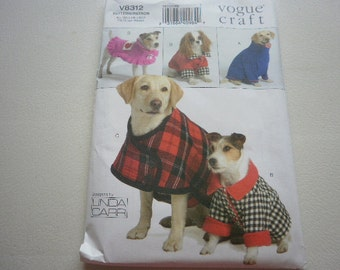 Pattern Pets Dogs Doggie Jackets 4 Styles Sizes XS to XL  Vogue 8312 P
