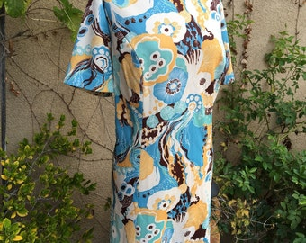 1960s classic psychedelic art deco blue yellow brown jackie o dress size XL