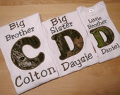 Set of 3 Camo Sibling Shirt Set Big Brother, Big Sister, Little Brother or Any Combination Appliqued Initials in Khaki Green Camouflage