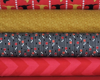 Pooches and Pickups Summer  5 Fat Quarter Bundle by Laurie Wisbrun for Robert Kaufman, 1 1/4 yards total