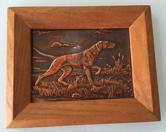 Copper Relief/ Hunting Dogs With Cattails /Relief Picture/ By Gatormom13