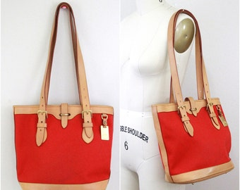 Vintage Dooney and Bourke Cabriolet Collection Red Cavas With Tan Leather Tote, Vintage Red Tote Bag