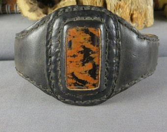 Leather Stone Cuff Wrist Band Bracelet Natural Stone hand crafted Tiger Tail