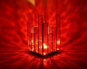 Votive Candle Holder Red Stained Glass