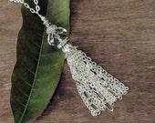 Tassel Necklace Silver, Crystal Tassel Necklace, Beaded Silver Tassel Necklace, Long Tassel Pendant Necklace, Clear Crystal Tassel Necklace