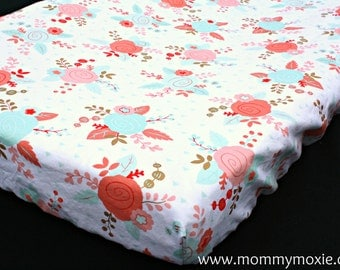 Designer Changing Pad Cover - Coral and Mint Roses with Metallic Gold Accents on White - Perfect for the Modern Nursery with a Vintage Flair