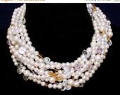 READY FOR SPRING Sale: Statement Necklace Bridal Necklace Bridal Pearl Wedding Ashira Rare Pink Lavender Amethyst Aquamarine Briolette Citri