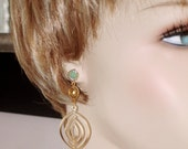 READY FOR SPRING Sale: Ashira Mint Green Citrine Yellow Dangle Drop Earrings in Matte Gold Dangle