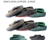Custom Order -  Men's Wool Slippers - 8 Pairs