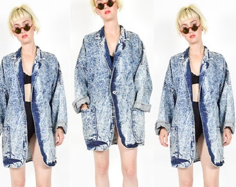 90's ACID WASHED DENIM Jacket. Oversize Overcoat. Large Patch Pockets. 1980s 1990'S Vintage Hipster Denim Coat. Size M/Medium