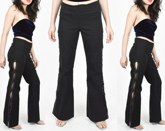 1990s BLACK FLARES CUTOUT Sides Pant. High Waist. Rivets and Studs. 90's Grunge Mod Minimalist. 90's Does 70's. Size S/M