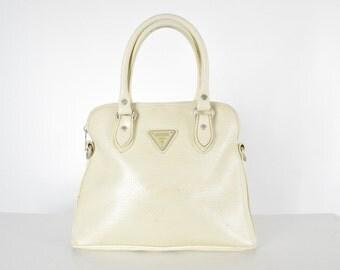 90's Cream GUESS Hand Bag