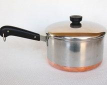 Vintage Revere Ware 4 Quart Saucepan Process Patent Riverside California Copper Clad Stainless Steel