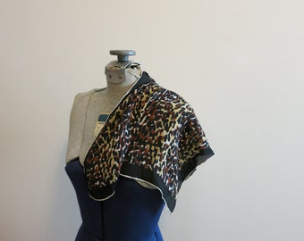Scarf SILK leopard print vintage 1950s rockabilly pinup hand rolled square bombshell