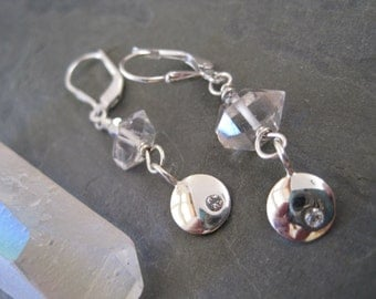 HERKIMER DIAMOND and CRYSTAL  Disc earrings
