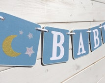 Baby shower banner, moon and stars, Baby Boy Banner, Nursery Decoration, Baby photo prop, light blue, photography prop baby boy