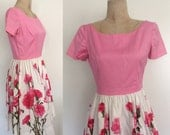 "1950's Cotton Pink Top Dress w/ Rose Print Skirt Vintage Dress Size Small 26"" Waist by Maebeery Vintage"