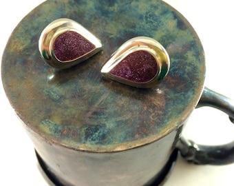 Silver and purple teardrop earrings