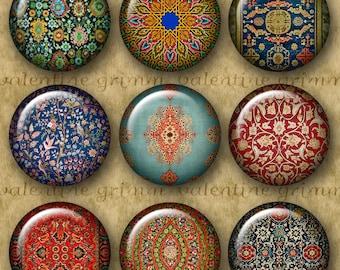 ORIENTAL CARPET 1 inch Circles - Digital Printable art collage sheet for making Pendants Magnets Crafts...Antique Oriental Rug Patterns