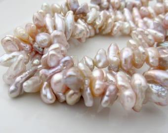 Pink Keshi Pearls, Natural Pink Pearls, Center Drilled Keshi Pearls, Keishi Pearl, Real Pearls Genuine, Cornflake Pearl 8mm-9mm, Half Strand