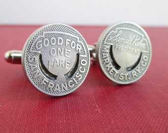 SAN FRANCISCO Cuff Links - Market St. Ry. Tokens, Silver SF - Vintage Repurposed Coins