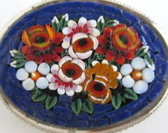 Micro Mosaic Pin / Brooch - Ornate Oval Floral Design - Vintage Italy
