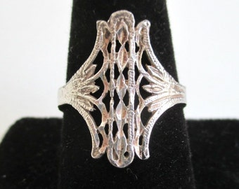 925 Sterling Silver Ring - Vintage Filigree Design, Size 9 3/4