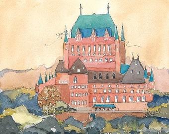 Original Watercolor Painting, Watercolor & Ink, Landscape, Cityscape, Architecture, Memories of Canada,