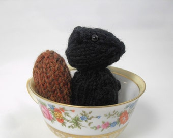 Hand Knit Squirrel. Black Squirrel Plush Toy. Squirrel Stuffie. Woodland Plushie. Pretend Play. Pocket Pal. Ready To Ship. Gifts Under 10.