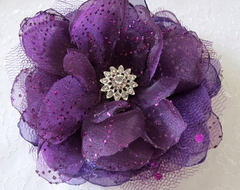Royal Purple Hair Fascinator Wedding Flower Hairclip Bridesmaid Ivory Sash Organza Flower Brooch