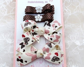 Mini Boutique Hair Bow Set of Hair Clippies and Hairbow