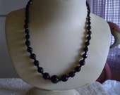 FAUX ONYX  Opaque Black Crystal Bead Necklace FREE Domestic Shipping