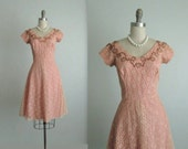 50's Beaded Dress // Vintage 1950's Beaded Peach Lace Full  Wedding Party Prom Dress S