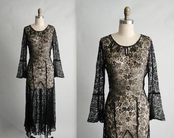 STOREWIDE SALE 30's Lace Dress // Vintage 1930's Sheer Black Lace Evening Gown S M