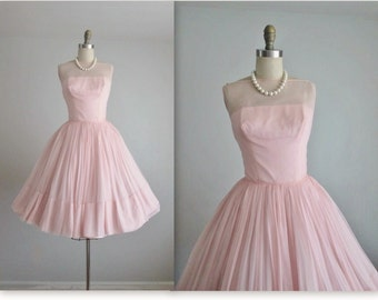 50's Chiffon Dress // Vintage 1950's Blush Pink Chiffon Full Tea Wedding Dress XS