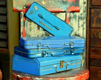 4 Industrial Steel Blue Toolbox Set: Rustic Storage Box Collection for Hardware, Tools, Paint & Craft Supplies - Long, Skinny, Thin, Slender