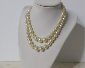 Vintage 1950's Pearl Necklace Double Strand
