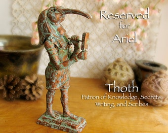 RESERVED for Ariel - Thoth Altar Statue - Egyptian Deity of Writing & Creation - Anthropomorphic Ibis Form - Handcrafted with Copper Finish