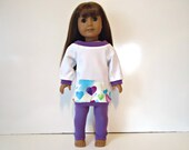 18 inch Doll off the shoulder long shirt White lilac hearts pocket turquoise leggings outfit set