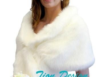 Ivory faux fur stole, Bridal shrug, bridal wrap, faux fur wrap, faux fur shawl, bridal cape 800NF-IVY