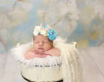 Turquoise Blue and Ivory Headband - Fancy - Light Turquoise - Flower Girl - Vintage Look - Baby Headband - Newborn Headband - Couture