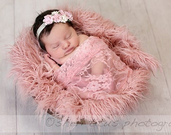 Pink and Ivory Flower Newborn Headband with Pink Lace Wrap Photo Prop